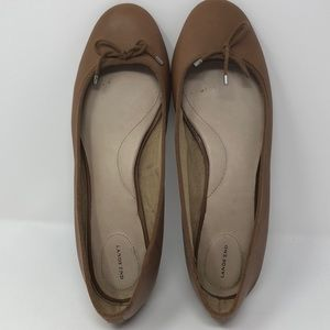 Lands' End brown flats with faux tie, size 11B